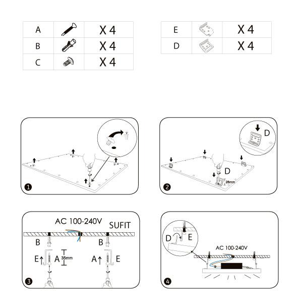 instrukcja montażu zestawu do podwieszenia panelu led